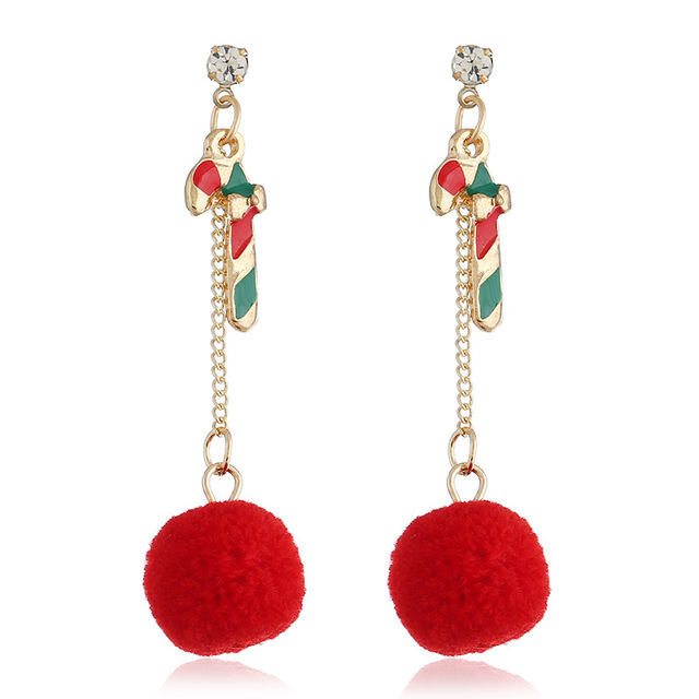 Christmas Stick Red Hairball Tassel Gold Color Dangle Earring for Woman  Korean Fashion Ball Popular Long a1b3bc32cdce