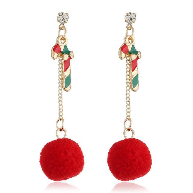 Christmas Stick Red Hairball Tassel Gold Color Dangle Earring for Woman  Korean Fashion Ball Popular Long 5413c0107efc