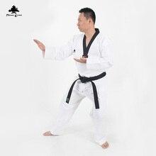 Traditional white Taekwondo suit Uniform kids men women student TKD dobok WTF Black V-Neck Poomsae Training Uniforms