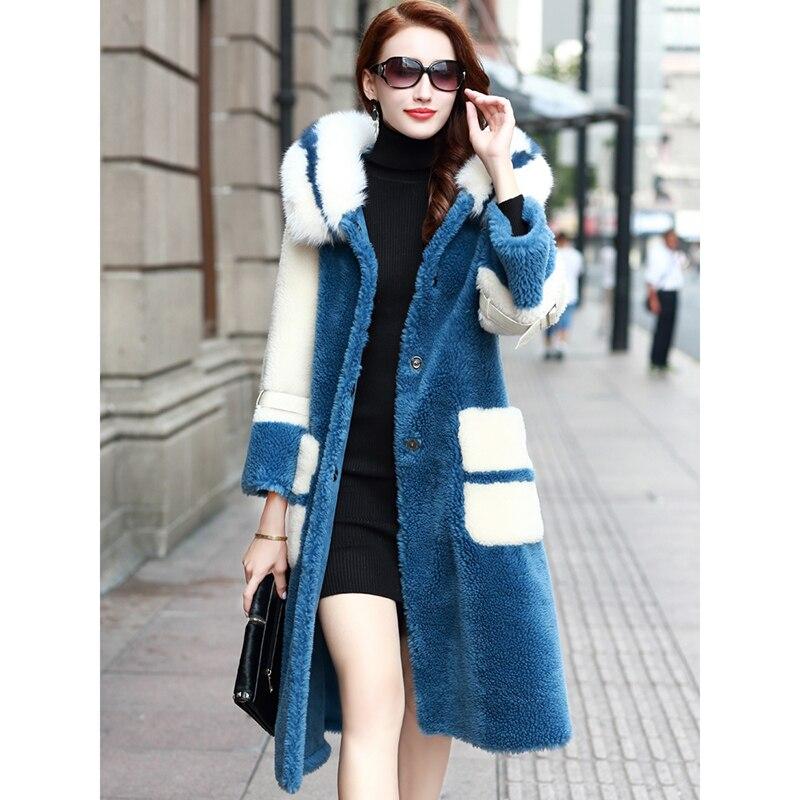 Tonte Parka Fourrure Capuchon Épaissir Nouveau Manteau Col Bleu De Femmes À Casual Hiver 2018 Dames Femme Laine Des Vestes Chaud Manteaux Moutons Renard 61XxwSn8q