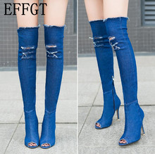 EFFGT Women Boots summer autumn peep toe Over The Knee Boots quality High elastic jeans fashion boots high heels plus size H72