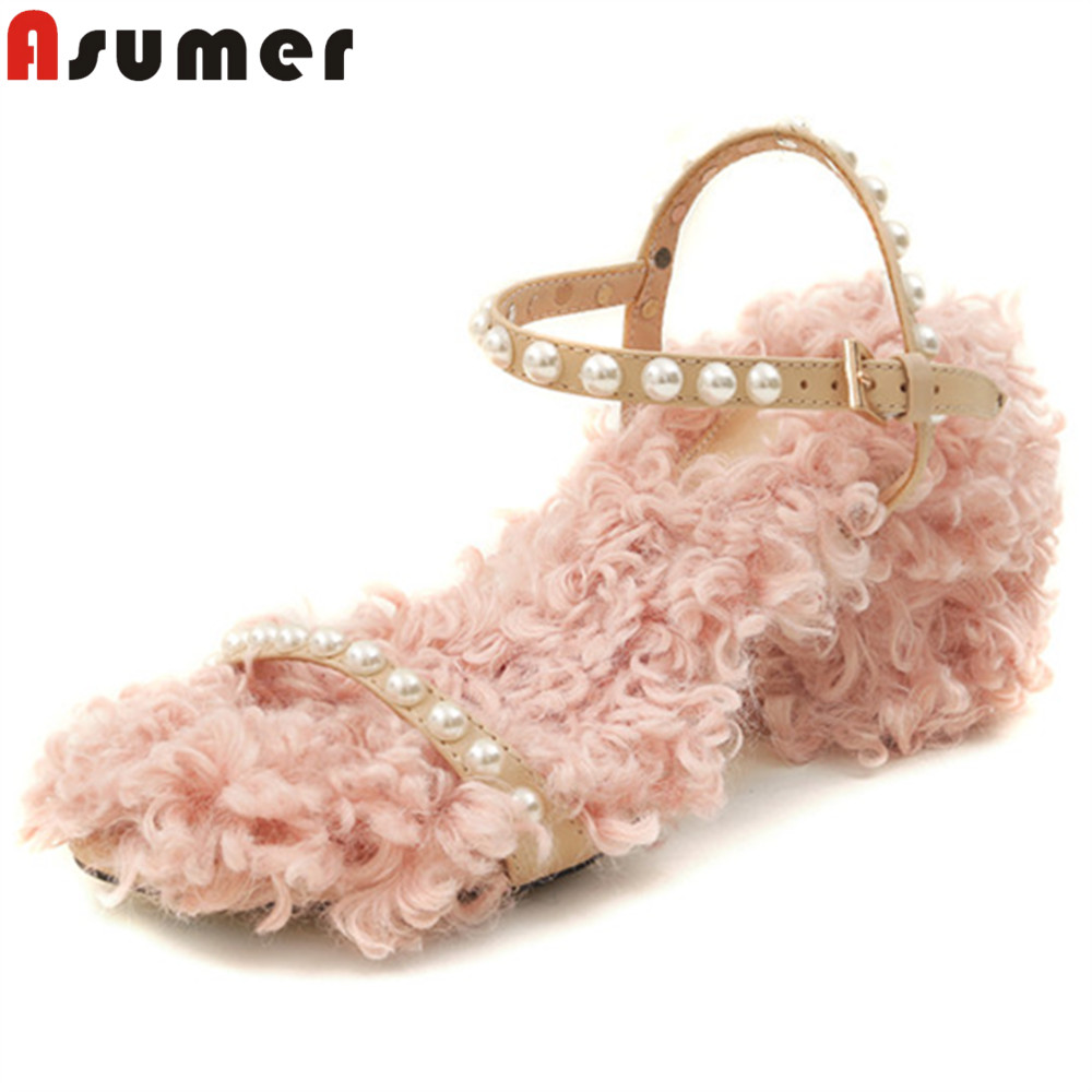 ASUMER pink fashion summer new arrival shoes woman buckle elegant prom shoes square heel casual women genuine leather sandals asumer big size 34 43 fashion summer new shoes woman casual mules shoes flat with sandals women genuine leather shoes black