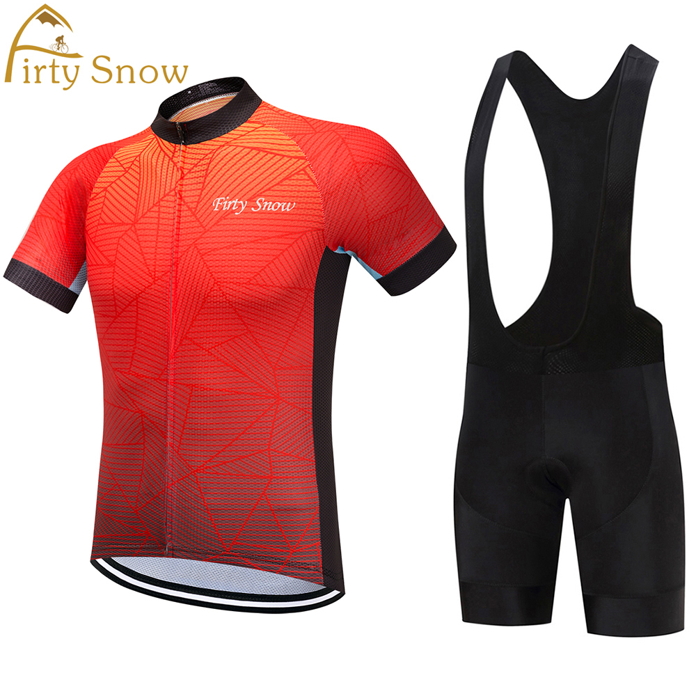 2018 Firty sonw Brand New Cool Cycling Jersey Set Short Sleeve Sportswear Polyester Summer Bike Cycling Clothing Ropa Ciclismo