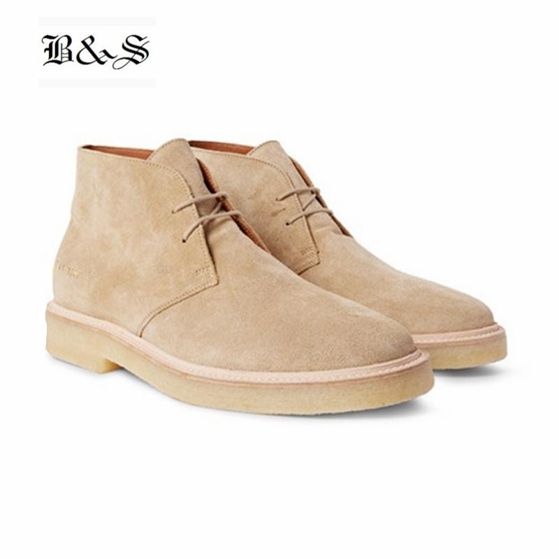 Black& Street Handmade Suede Lace Up leisure Men Ankle Boots pointed toe genuine Leather Desert Boots