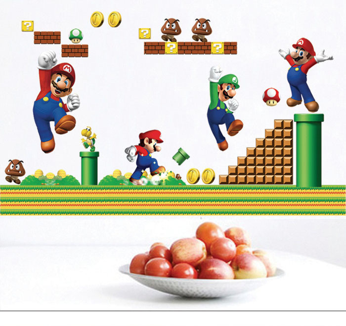 Super Mario Bros Wall Stickers Kids Room Nursery Art Decal Mural Wall Sticker Cartoon Decor PVC Poster Decorations 3 Pieces/Lot