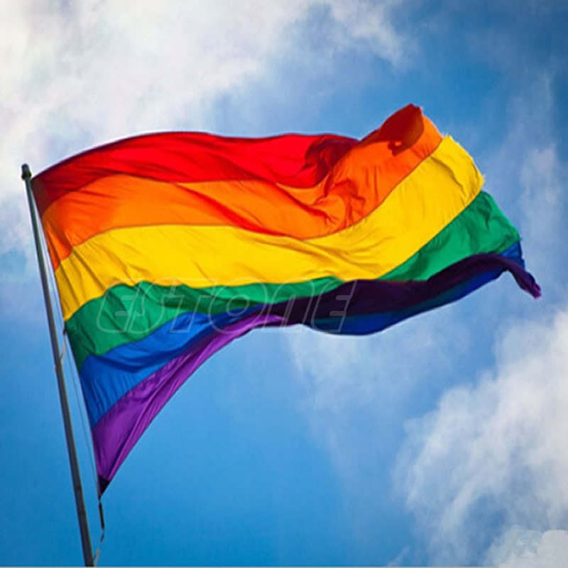 Hot Sale Rainbow Flag 3x5 FT 90x150cm Polyester Lesbian Gay Pride LGBT pro dekorace -S127