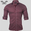 2017 Nova Primavera Outono Homens de Marca Camisas de Algodão Xadrez Longo manga comprida Casual Slim Fit Camisa Social Masculina Plus Size 5XL N1144