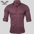 2017 Nueva Primavera Otoño Hombres de Algodón Marca Camisas A Cuadros Ocasional de la manga Slim Fit Camisa Masculina Sociales Más El Tamaño 5XL N1144