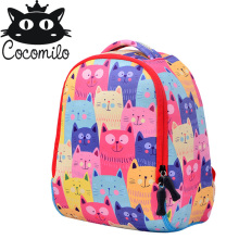 Quality Cute cat School bags Children Backpack Aged 1-3 Years Monster Print Girls Boys Cartoon Spider Man Light