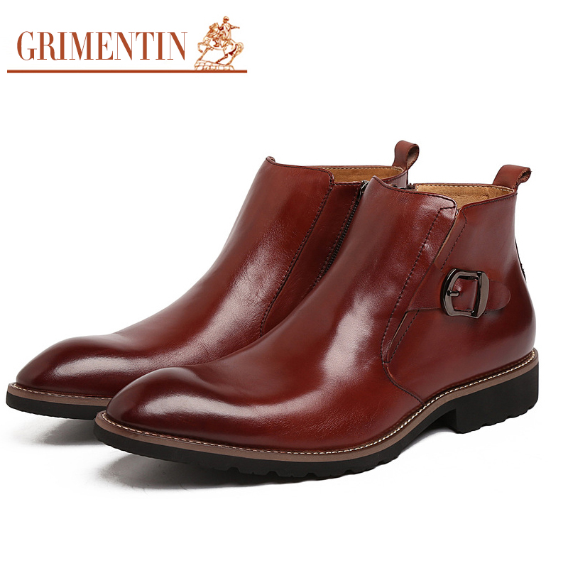 GRIMENTIN Hot Sale Fashion Designer Classic Ankle Male Boots Genuine Leather Luxury Men Business Shoes High Quality Mens Boots grimentin fashion 2016 high top braid men casual shoes genuine leather designer luxury brand men shoe flats for leisure business
