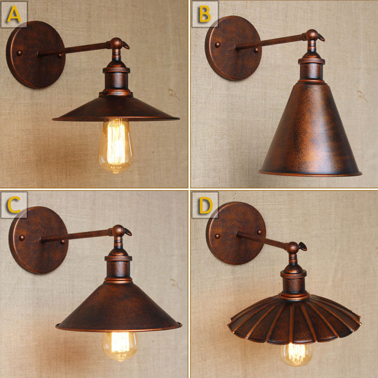 American Industrial Rust Color Personality  Wall Lamp Retro Coffee Shop Decoration Lamp Balcony Wall Lamp Free ShippingAmerican Industrial Rust Color Personality  Wall Lamp Retro Coffee Shop Decoration Lamp Balcony Wall Lamp Free Shipping