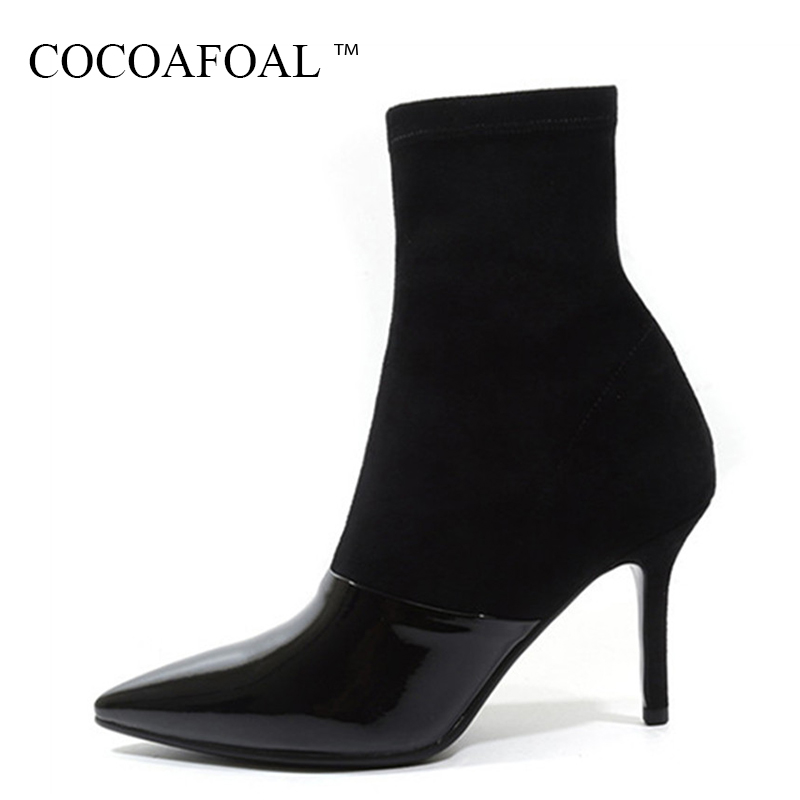 COCOAFOAL Genuine Leather Zipper Martin Boots Woman Autumn Winter Chelsea Ankle Boots Plus Size Fashion Black High Heeled Shoes women boots plus size 35 43 genuine leather autumn winter ankle boots black wine red shoes woman brand fashion motorcycle boot