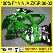 8Gifts Injection mold Body For KAWASAKI NINJA ZX-6R 00-02 1HM95 ZX 6R ZX6R 00 01 02 ZX636 636 2000 2001 2002 Fairing Green black