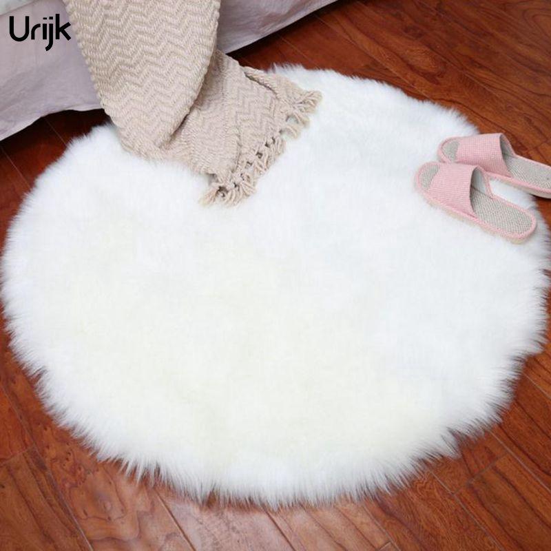 Urijk 1PC White Rug Chair Cover Bedroom Mat Soft Artificial Sheepskin Carpet For kids Room Home Rugs Living Room Yoga Mat