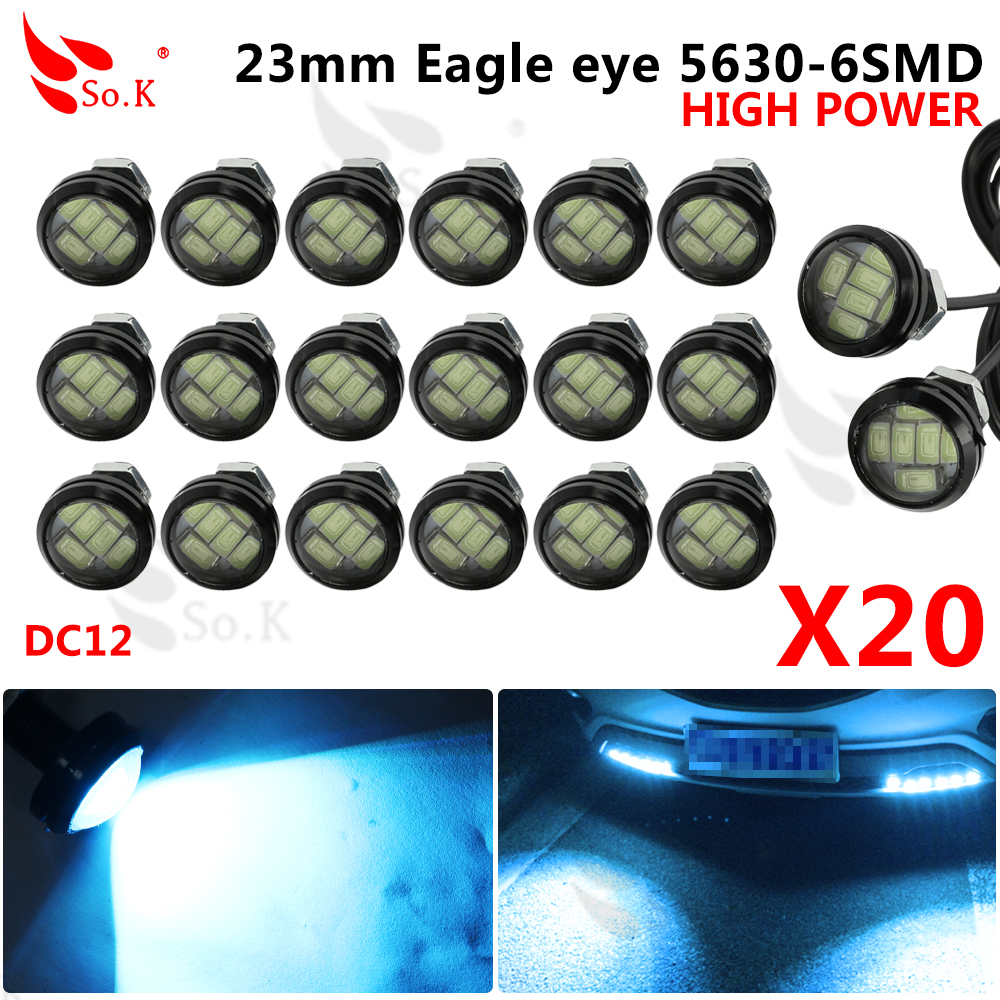 23mm 5630 External Lights Source 2pcs/lot New Car Styling LED DRL Eagle Eye Daytime Runing Warning Fog Light Turning Signal new arrival a pair 10w pure white 5630 3 smd led eagle eye lamp car back up daytime running fog light bulb 120lumen 18mm dc12v