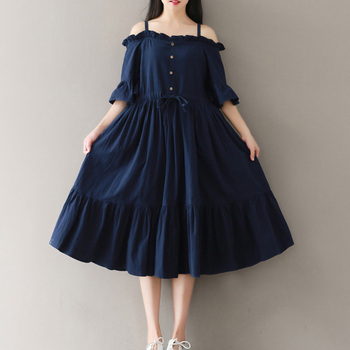 c5a8909d0cd4 Vestidos estilo chica Mori 2019 verano nuevo vestido casual holgado de  manga corta de algodón ...