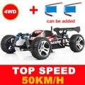 Wltoys A959 1:18 2.4G 4CH de Acionamento Do Eixo 4WD Carro RC Dublê de Controle Remoto Carro de Corrida Super Poder de alta Velocidade Off-Road veículo