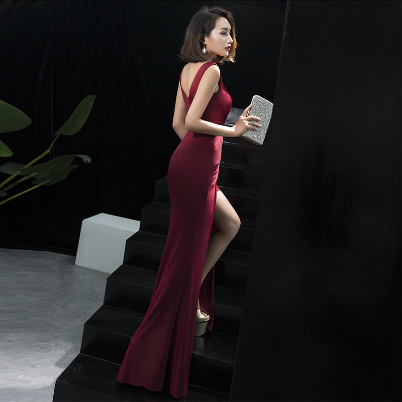 Robe De Soiree New V Neck Satin Mermaid Slit Split Prom <font><b>Dress</b></font> Simple Trumpet Floor Length Ruched <font><b>Sex</b></font> Luxury <font><b>Evening</b></font> Gown image