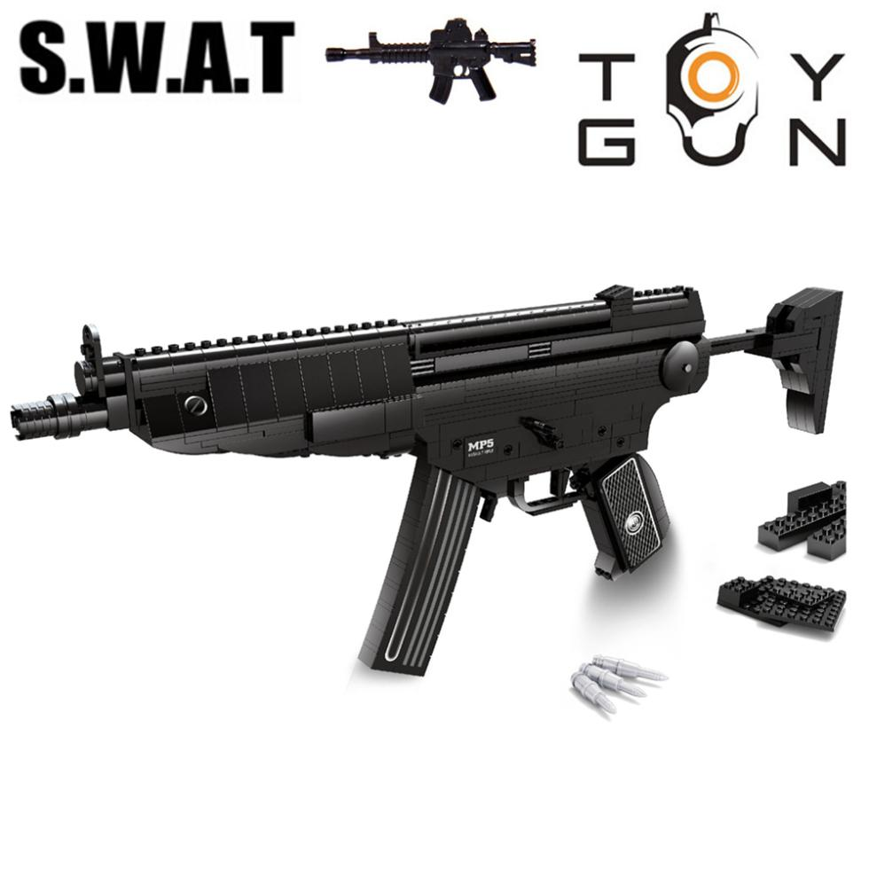 AUSINI 597pcs MP5 Submachine Sniper Assault Rifle GUN Weapon Model 1:1 3D DIY Model Building Blocks Bricks Children Toy Gifts barrett sniper rifle jigsaw puzzles educational toys gun model stainless steel diy assembly 3d metal puzzle for children
