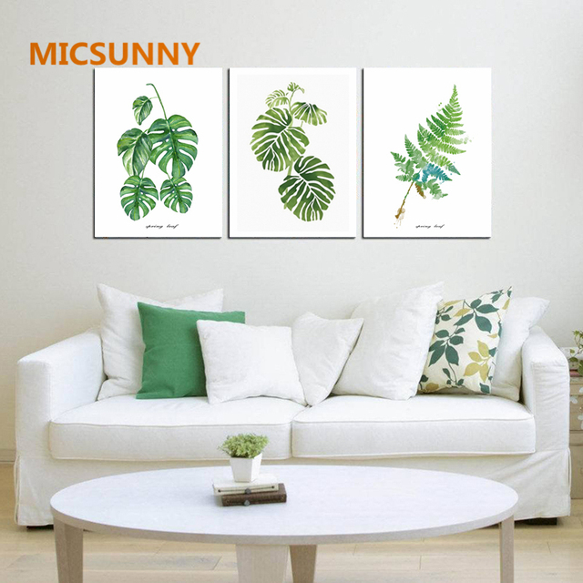 Micsunny nordic minimalism art green leaves unframed large stencil canvas poster painting home decor print paintings