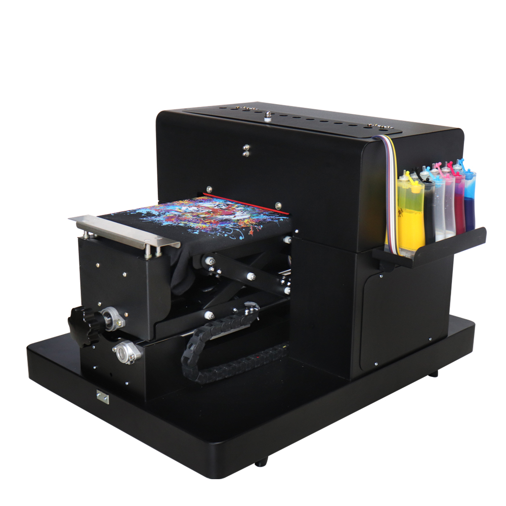 High Quality A4 Size Flatbed Printer DTG T-shirt Print Machine For EPSON L800 R330 For White/ Dark Color Clothing Textile