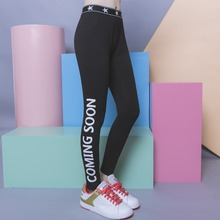 Fashion street personalized brief of sidepiece letter print elastic waist all-match legging female