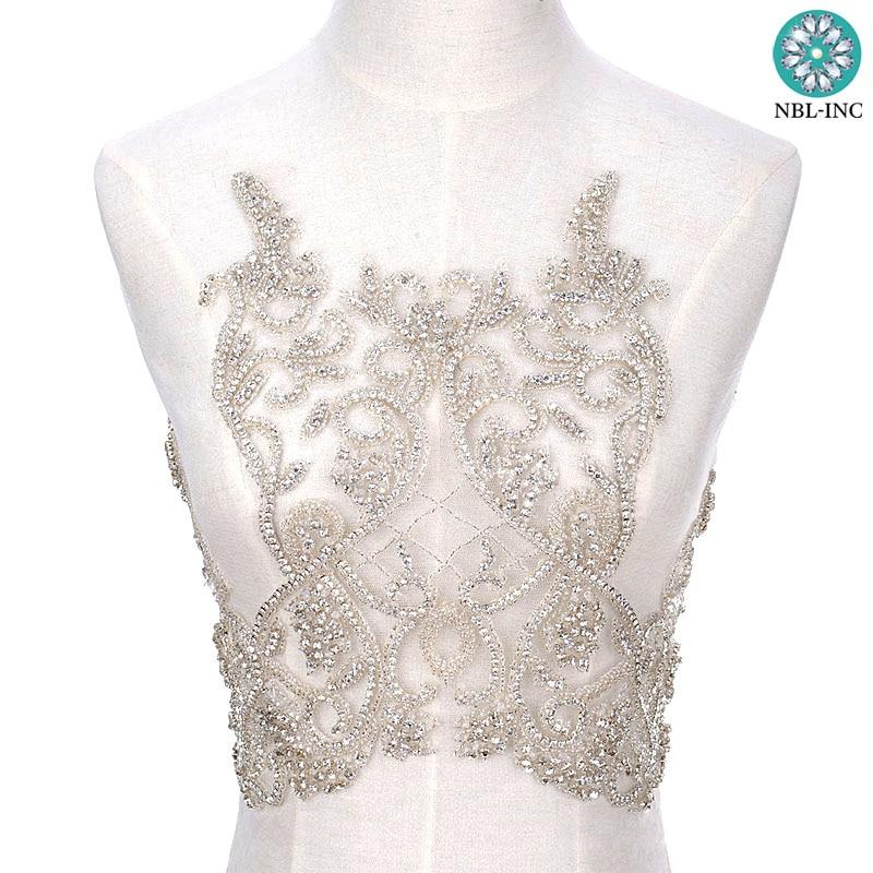 (1PCE) Hand beaded bridal wedding sexy rhinestone bodice applique dress women WDD0803