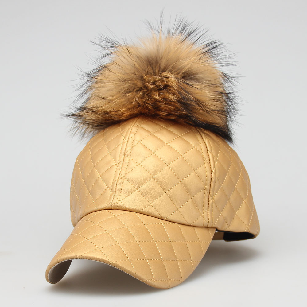 QOPE 2017 Fashion PU Leather women Cap Faux Leather Real Fur Pompom Pompoms Baseball Caps Summer