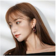 Fashion drip wine red white tassel earrings female retro personality simple round for women E13