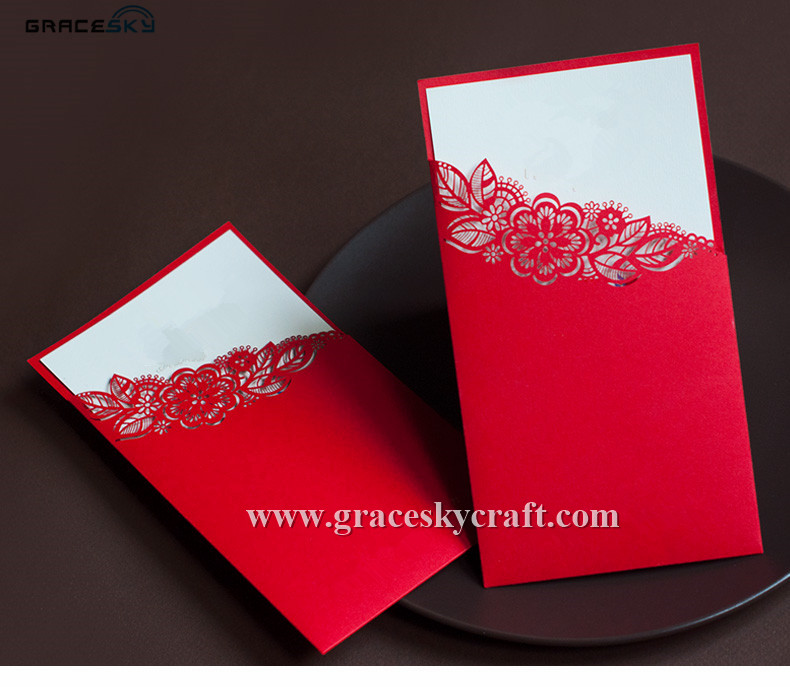 Wedding Invitations Pocket Style: 50pcs NEW RED 23 COLORS Free Shipping Laser Cut Hollow