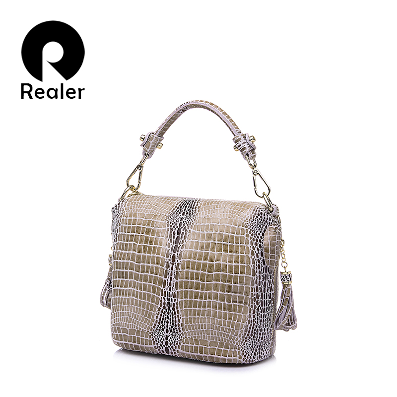 REALER genuine leather handbag women small totes shoulder crossbody bags ladies classic serpentine pattern leather bucket bag spring new elegant leather women handbag smooth skin lady shoulder bags female small casual totes cover zipper crossbody packs