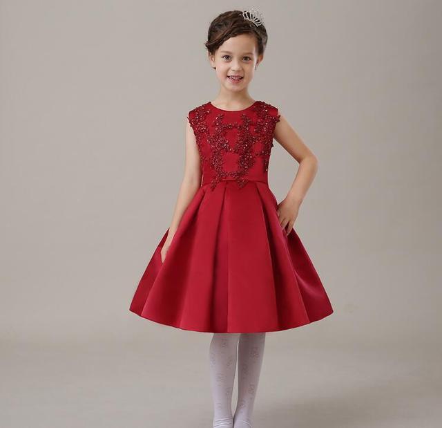 63277a6ae153 Deluxe Rosso Estate Paillettes Tulle Vestito Dalla Ragazza Festa di  Compleanno Della Neonata Del Vestito Bordato