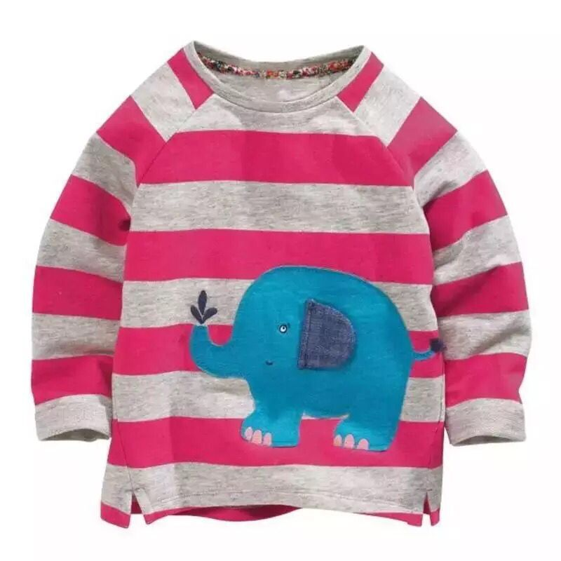 Kids Long Sleeve Fashion Striped elephant T children's  Cotton clothes  Girls Tops