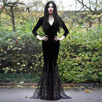 Imily Bela Gothic Maxi Dress Sexy Black Deep V Neck Lace Splicing Collect Waist Mermaid Dress Long Sleeve Bodycon Trumpet Gowns