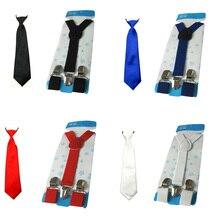 Детские одноцветные галстуки для мальчиков Y-Back эластичная подвеска Brace Set setw0019