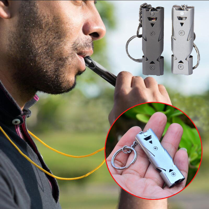 Double Pipe High Decibel Stainless Steel Emergency Survival Whistle Keychain Whistle Camping Hiking Accessory Tool db150
