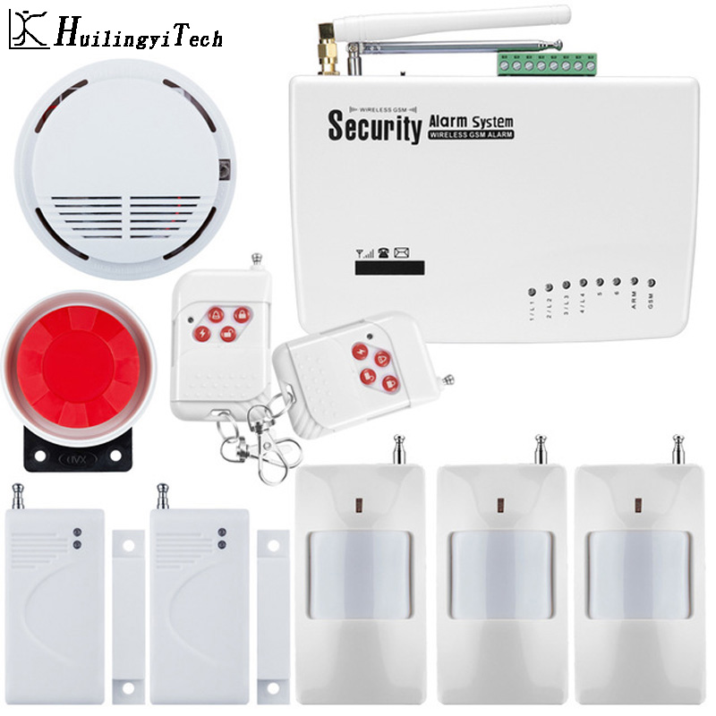 цена на Wireless GSM Alarm System Dual Antenna Home Alarm Burglar Protect System Detector Russian English Voice Security Home GSM Alarm
