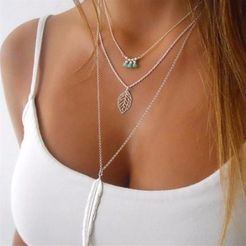 FLTMRH multilayer Necklaces Arrival Fashion silver Color 3 Layer Chain Necklace Hollow Out Triangle Long Pendant Necklaces