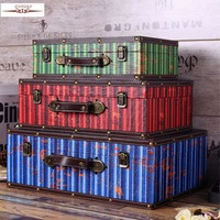 Retro Storage Box Vintage Home Decor Shabby Chic Wooden Boxes Bar Coffee Shop Decoration Shooting Props