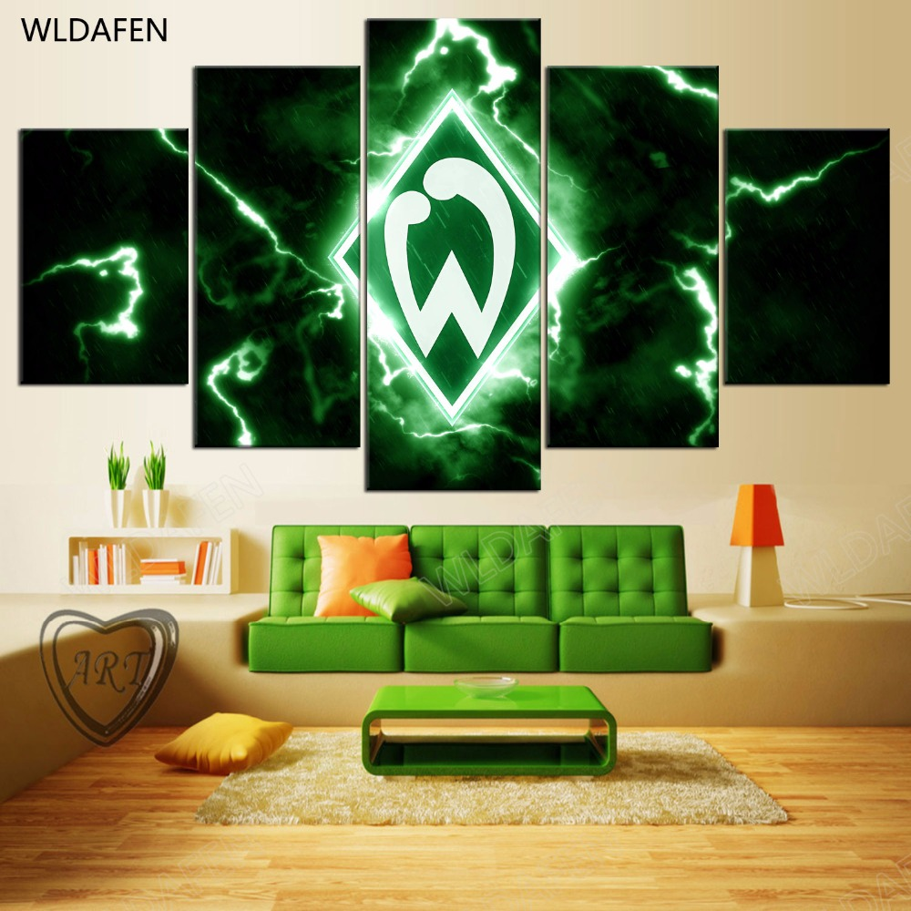 5 Pieces Sports Team Deco Fans Posters Oil Painting On Canvas Modern Home Pictures Prints Decor Living Room PH4-1757