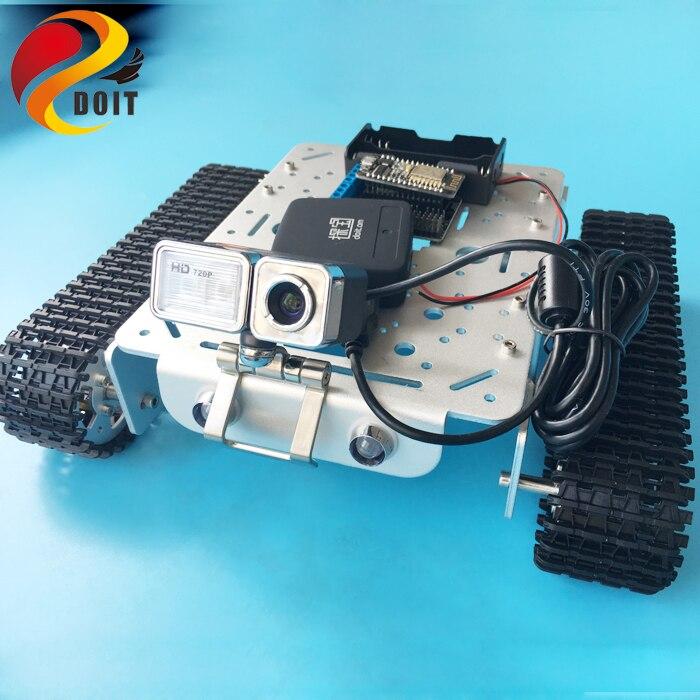 DOIT T200 télécommande WiFi vidéo robot châssis de réservoir plate-forme Mobile pour Arduino Robot intelligent avec jouet de griffe de caméra