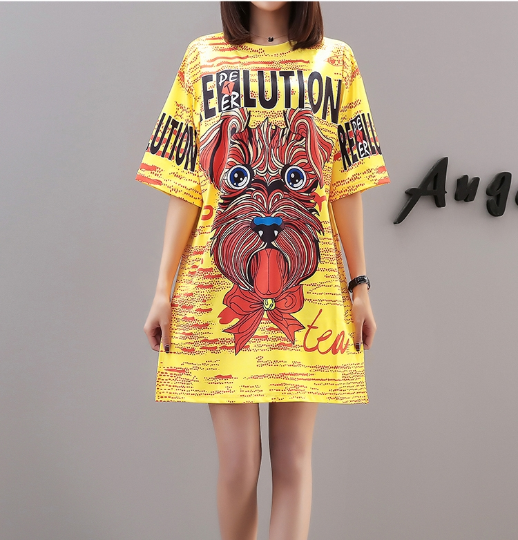 2019 New Harajuku Funny Women T Shirts Dresses Short Sleeve Long Design Oversize Women Dresses Tee Shirts Summer Style 1