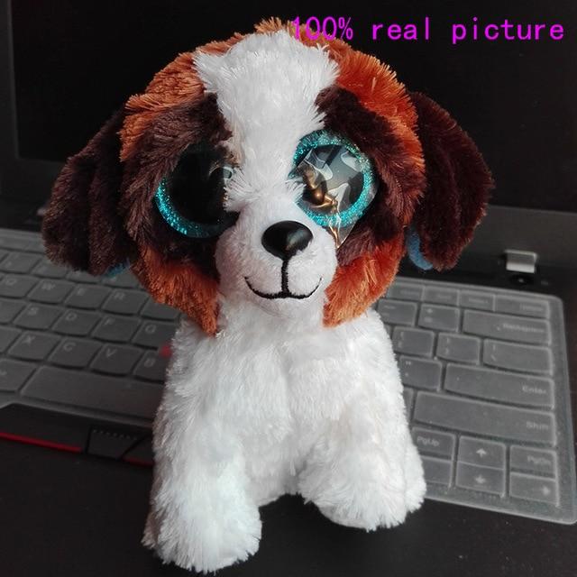 cee16689577 In Stock Original Ty Beanie Boos Big Eyed Stuffed Animal DUKE - brown white  dog Plush