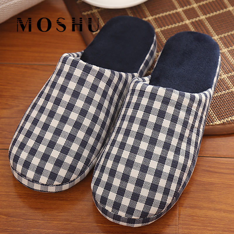 Winter Home Cotton Slippers Fashion Men Wooden Floor Anti-Slip Slippers Japanese Gingham Plush Indoor Flats Shoes For Woman fashion autumn and winter indoor home lovers cotton drag floor plush slippers female slip resistant