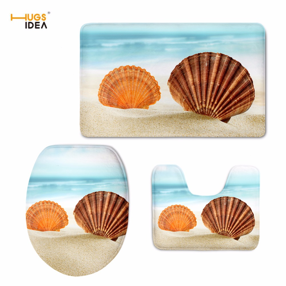 HUGSIDEA Beach Shell Toilet Pad Seat Cover Flannel Bathroom Sets Pedestal Rug Lid Toilet Cover Starfish Bath Mat Home Decorative