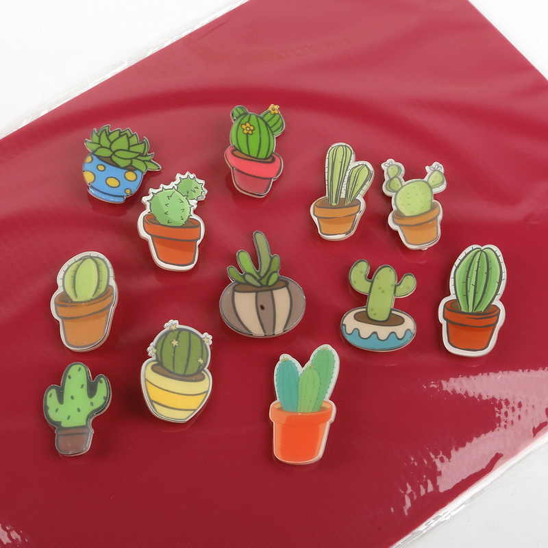 Pin Badge Decoration 1 PC Cartoon Cactus Bonsai Brooch Acrylic Badges Icons on The Backpack Badges for Clothing