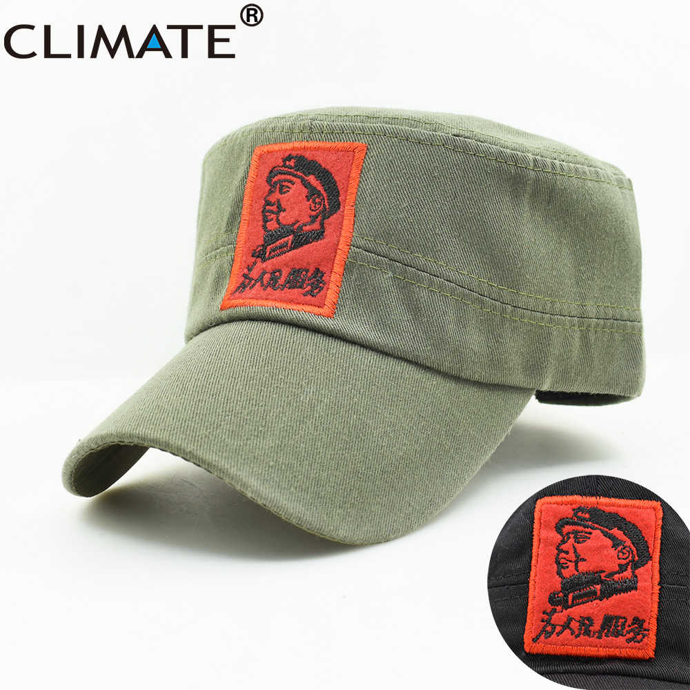 3975b7d1900460 CLIMATE New Men Army Military Caps Chinese Chairman Mao Zedong Cap Army  Green Flat Top Cap