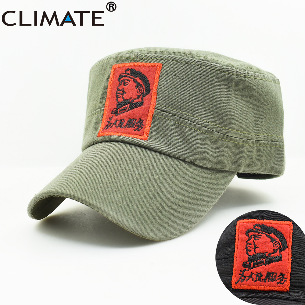 CLIMATE New Men Army Military   Caps   Chinese Chairman Mao Zedong   Cap   Army Green Flat Top   Cap   The Communist Party Adult Hat   Caps