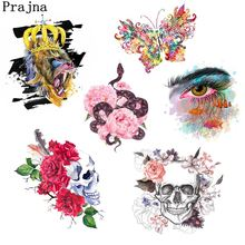 Prajna Rose Snake Skull Iron On Heat Transfers Lion Butterfly Motif Iron Patches For Clothing Jacket A Level Washable Stickers(China)