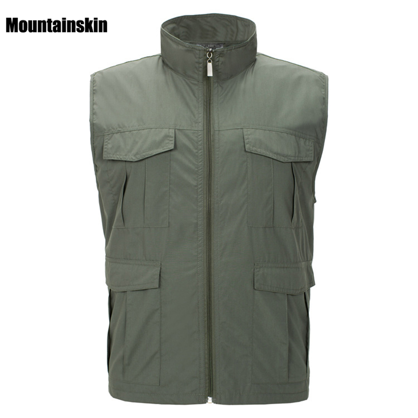 Mountainskin 4XL Mens Spring Quick Dry Waterproof Vest Outdoor Sport Sleeveless Jackets Hiking Fishing Camping Male Coats VA130
